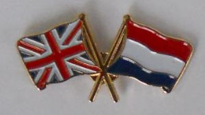 Great Britain and Holland Friendship Flag Pin Badge